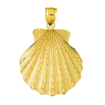 14k gold 40mm scallop shell pendant