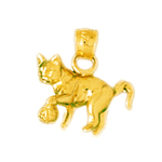 14k gold 3 dimensional cat with ball charm
