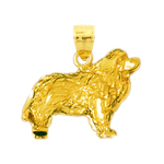 14k gold long haired dog pendant