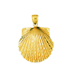 14k gold 20mm scallop seashell charm pendant