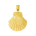 14k gold 22mm scallop shell charm pendant
