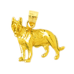 14kt gold german shepherd pendant