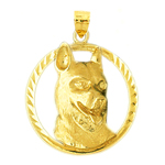 14kt gold dog face pendant