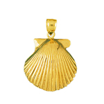 14k gold 20 mm scallop shell charm pendant