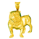 14k gold 46mm bulldog charm pendant