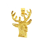14k gold stag head charm