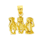 14k gold 3d three monkeys charm