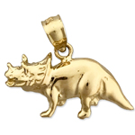 14k gold triceratops charm