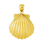 14k gold 28mm scallop shell charm pendant