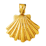 14k gold 16mm scallop shell charm pendant