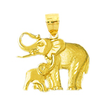 14k gold elephant and calf pendant