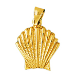 14k gold 18mm scallop shell charm pendant