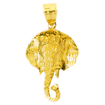 14k gold 37mm elephant head charm pendant