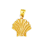14k gold 11mm scallop shell charm