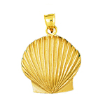 14k gold sculpted scallop shell charm pendant