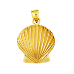 14k gold 18mm scallop seashell charm pendant