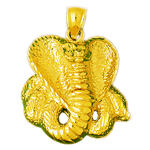 14k gold 28mm cobra charm pendant
