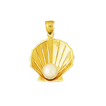 14k gold scallop shell with pearl accent charm pendant