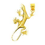 14k gold 38mm long lizard charm pendant