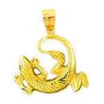 14k gold curled lizard pendant