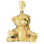 14k gold teddy bear with open arms pendant