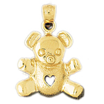 14k gold teddy bear charm