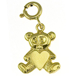 14k gold teddy bear with heart charm
