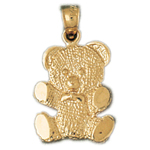 14k gold teddy bear with tie charm