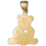 14k gold teddy bear with honey jar charm