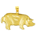 14k gold 42mm pig charm pendant