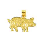 14k gold pig with curly tail charm pendant