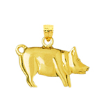 14k gold 22mm pig charm pendant