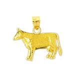 14kt gold cow charm