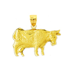 14k gold 25mm cow charm pendant
