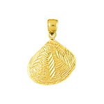 14k gold 3d clam shell mollusc charm