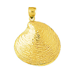 14k gold seashell clam shell pendant