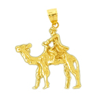 14k gold 3d camel with rider pendant