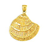 14k gold oyster shell pendant