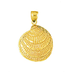 14k gold clam shell pendant