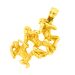 14k gold 3d no evil three monkeys charm pendant