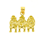 14k gold monkey see, hear, speak no evil charm