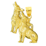 14k gold alpha and omega fox charm pendant