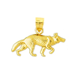 14kt gold coyote pendant