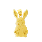 14k gold front view silhouette rabbit pendant