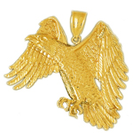 14k gold flying golden eagle pendant