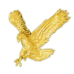 14kt gold hunting eagle pendant