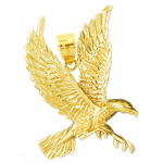 14k gold flying eagle pendant