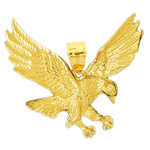 14 karat gold 50mm eagle pendant