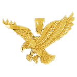 14kt gold bald eagle pendant