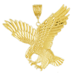 14k gold great eagle charm pendant